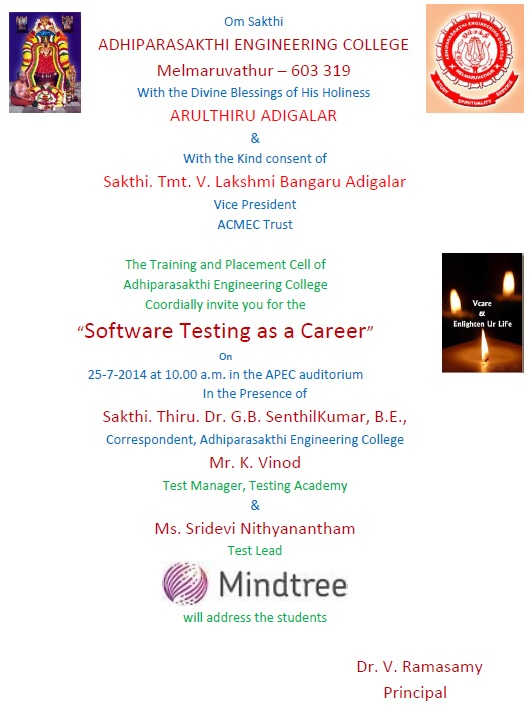 Software Testing as a Career - Orientation Programme by Mindtree @ Auditorium | Melmaruvathur | Tamil Nadu | India