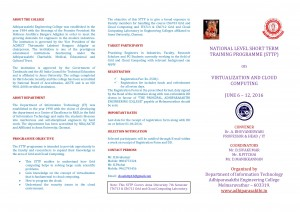 NATIONAL LEVEL SHORT TERM TRAINING PROGRAMME (STTP) @ Adhiparasakthi Engineering College | Kolivakkam | Tamil Nadu | India