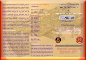 RRME '18 - 3rd National Level Conference on Recent Research in Mechanical Engineering @ Adhiparasakthi Engineering College | Melmaruvathur | Tamil Nadu | India