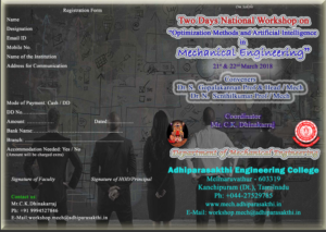 Two Days National Workshop on Optimization Methods and Artificial Intelligence in Mechanical Engineering @ Adhiparasakthi Engineering College | Melmaruvathur | Tamil Nadu | India